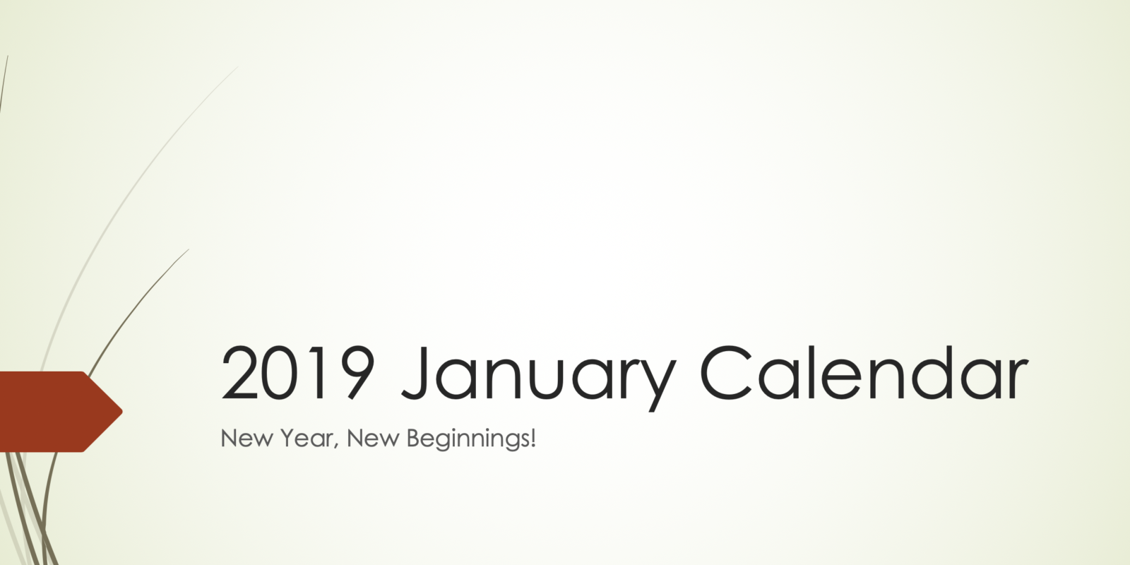 January 2019 Event Calendar
